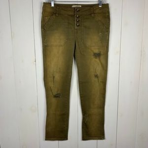 Free People Green 2 Distressed Ankle Skinny Jeans